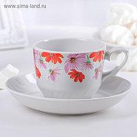 Чайная пара «Тюльпан. Космея»: чашка 250 мл, блюдце d=15 см