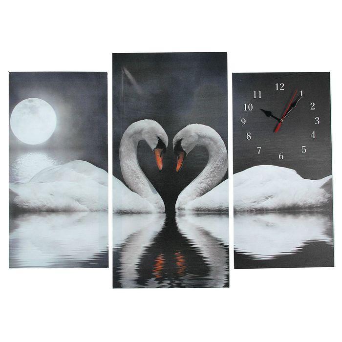 Часы настенные модульные «Пара лебедей при лунном свете», 60 × 80 см