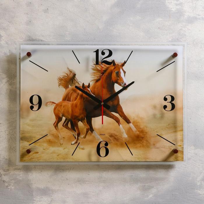 """Часы настенные, серия: Животный мир, """"Лошадь с жеребёнком"""", 40х56 см"""