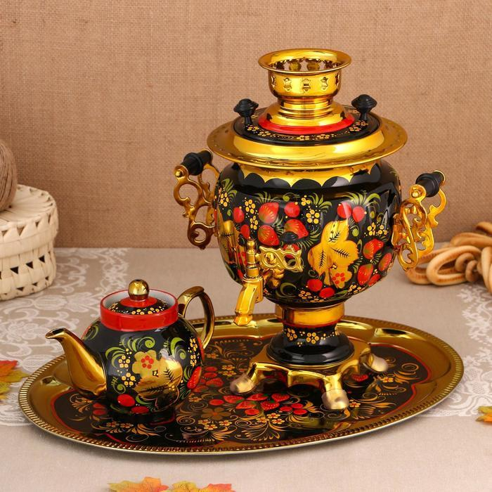 Набор «Хохлома», овал, 3 предмета, самовар 3 л, заварочный чайник 0,7 л, поднос