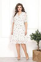 Женское осеннее белое нарядное большого размера платье Solomeya Lux 797 белый 48р.