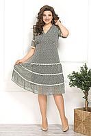 Женское осеннее зеленое нарядное большого размера платье Solomeya Lux 797 зелень 48р.