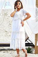 Женское летнее хлопковое белое нарядное большого размера платье Vittoria Queen 12573 50р.