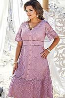 Женское летнее хлопковое розовое нарядное большого размера платье Vittoria Queen 12633 46р.