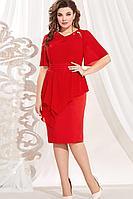 Женское летнее красное нарядное большого размера платье Vittoria Queen 13603 50р.