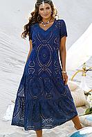 Женское летнее хлопковое синее нарядное большого размера платье Vittoria Queen 13833 50р.