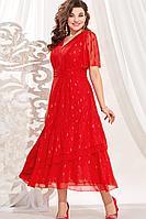Женское осеннее красное нарядное большого размера платье Vittoria Queen 13613 48р.