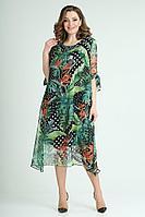 Женское летнее шифоновое зеленое большого размера платье ELGA 01-616 яркий_черно-зеленый 58р.