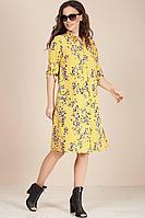 Женское летнее шифоновое желтое большого размера платье Teffi Style L-1493 желтый 44р.