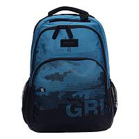 Рюкзак молодежный, Grizzly RU-130, 45x32x23 см, эргономичная спинка, отделение для ноутбука, джинсовый