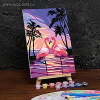 Картина по номерам на холсте с подрамником «Фламинго на закате» 20×30 см