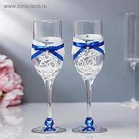 "Набор свадебных бокалов ""Романтика"", ручной работы, синий-серебро, 6х6х20,5 см"