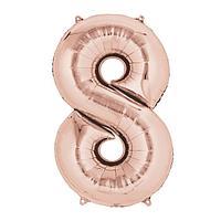 """Шар фольгированный 40"""" Цифра 8, индивидуальная упаковка, цвет розовое золото, 1 шт."""