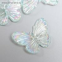 """Декор для творчества пластик """"Бабочки голография на прозрачном"""" набор 5 шт 3,2х4,1 см"""