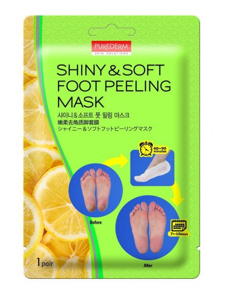 Педикюрные носочки для пилинга 1 пара PUREDERM Shiny & Soft Foot Peeling Mask