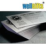 Визитки на дизайнерской бумаге серебро, фото 2