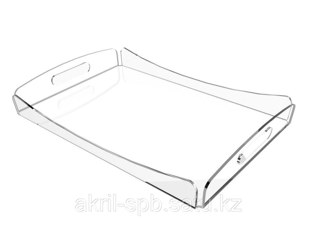 Прозрачный поднос для столовых приборов 28х42см