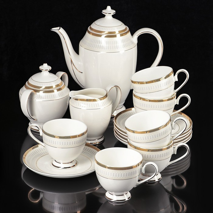 Сервиз чайный «Луи», 15 предметов: чайник 1,3 л, молочник 300 мл, сахарница 350 мл, 6 чайных пар 160 мл