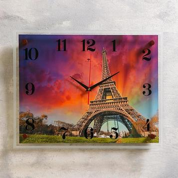 "Часы настенные, серия: Город, ""Эйфелева башня на закате"", 35х45 см"