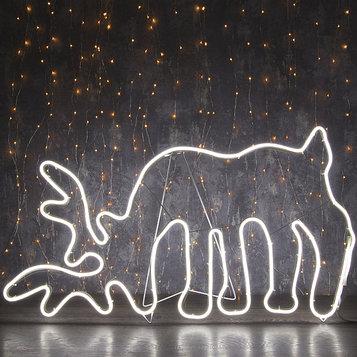 "Фигура из неона ""Олень на водопое"", 85х50 см, 5 метра, 600 LED, 220V, БЕЛЫЙ"