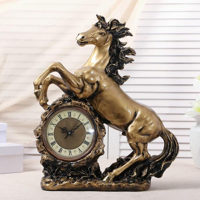 """Часы настольные """"Конь"""", цвет  золото, 51х39х17 см  микс"""