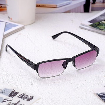 Очки корригирующие 0056, размер 13,3х13,2х3,3, цвет чёрный, тонированные, отгибающаяся дужка, -4