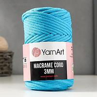 "Пряжа ""Macrame Cord"" 60% хлопок, 40% вискоза/полиэстер 3 мм 85м/250гр (763 гол.бирюза)"