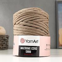 "Пряжа ""Macrame Cord"" 60% хлопок, 40% вискоза/полиэстер 5 мм 85м/500гр (768 серо-беж)"