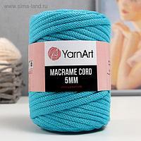 "Пряжа ""Macrame Cord"" 60% хлопок, 40% вискоза/полиэстер 5 мм 85м/500гр (763 бирюза)"