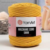 "Пряжа ""Macrame Cord"" 60% хлопок, 40% вискоза/полиэстер 5 мм 85м/500гр (764 жёлтый)"