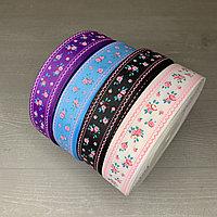 """Репсовая лента """"мелкие розовые цветочки"""" 25 мм, S"""
