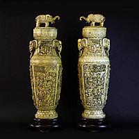 Большие парадные Вазы со слонами. Китай, эпоха Поздняя Цинь (начало 20 вв.) Кость. 12 кг