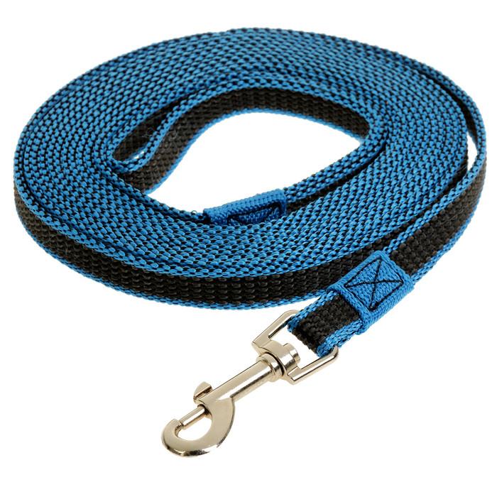 Поводок капрон+латекс для собак, синий 5 м