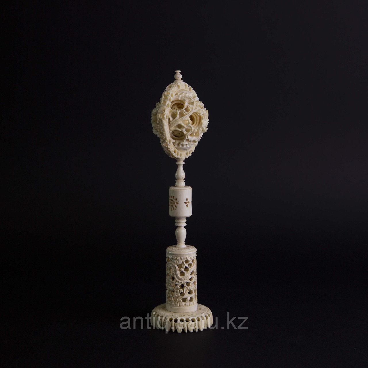 «Шар вечности» СЛОНОВАЯ КОСТЬ. Скульптурная композиция «Кантонский шар» - фото 2