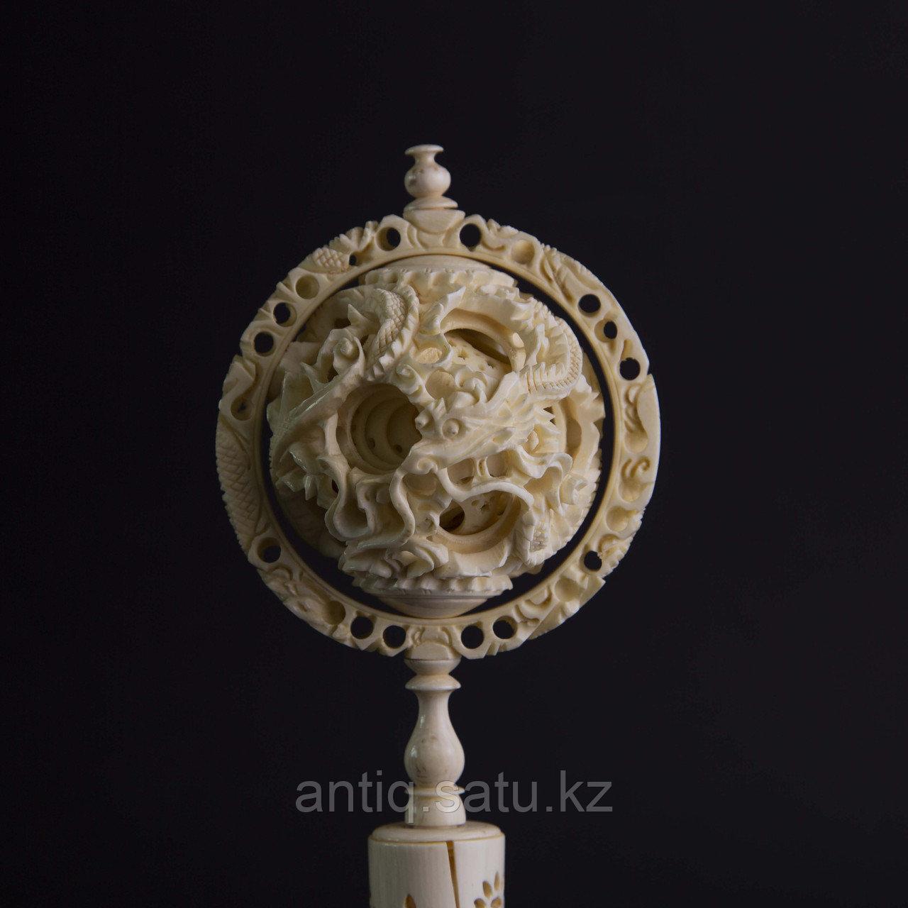 «Шар вечности» СЛОНОВАЯ КОСТЬ. Скульптурная композиция «Кантонский шар» - фото 3