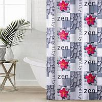 Штора для ванной комнаты Доляна «Камни и цветы», 180×180 см, полиэстер
