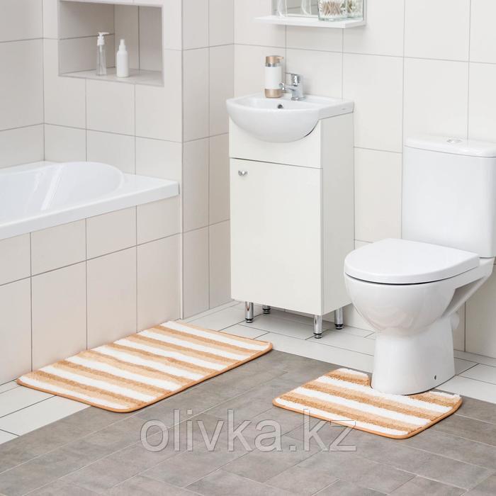 Набор ковриков для ванны и туалета Доляна «Полосатик», 2 шт: 50×80, 40×50 см, цвет бежево-коричневый