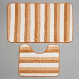Набор ковриков для ванны и туалета Доляна «Полосатик», 2 шт: 50×80, 40×50 см, цвет бежево-коричневый, фото 2