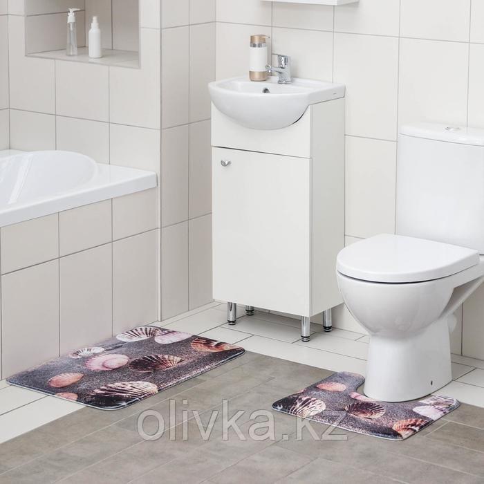 Набор ковриков для ванны и туалета Доляна «Морское дно», 2 шт: 45×70, 39×45 см