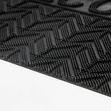 Коврик придверный прямоугольный Доляна «Welcome ребристый», 45×75 см, цвет чёрный, фото 4