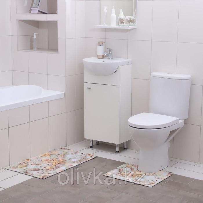 Набор ковриков для ванны и туалета Доляна «Ракушки», 2 шт: 40×45, 45×75 см