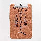 """Набор ковриков для ванной Этель """"Home"""" 2 шт, 80х50 см, 50х40 см, велюр, фото 5"""