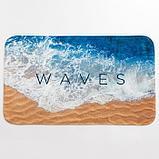 """Набор ковриков для ванной Этель """"Waves"""" 2 шт, 80х50 см, 50х40 см, велюр, фото 2"""