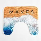 """Набор ковриков для ванной Этель """"Waves"""" 2 шт, 80х50 см, 50х40 см, велюр, фото 3"""