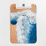 """Набор ковриков для ванной Этель """"Waves"""" 2 шт, 80х50 см, 50х40 см, велюр, фото 5"""