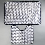 Набор ковриков для ванны и туалета Доляна «Винель», 2 шт: 40×50, 50×80 см, цвет синий, фото 2