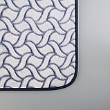 Набор ковриков для ванны и туалета Доляна «Винель», 2 шт: 40×50, 50×80 см, цвет синий, фото 3
