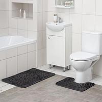 Набор ковриков для ванны и туалета Доляна «Мэри», 2 шт: 45×70, 39×45 см, цвет серый