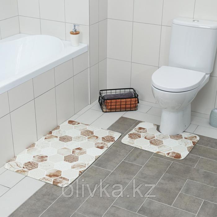 Набор ковриков для ванны и туалета Доляна «Соты», 2 шт: 79×50, 50×39 см, цвет коричнево-бежевый