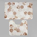 Набор ковриков для ванны и туалета Доляна «Соты», 2 шт: 79×50, 50×39 см, цвет коричнево-бежевый, фото 2